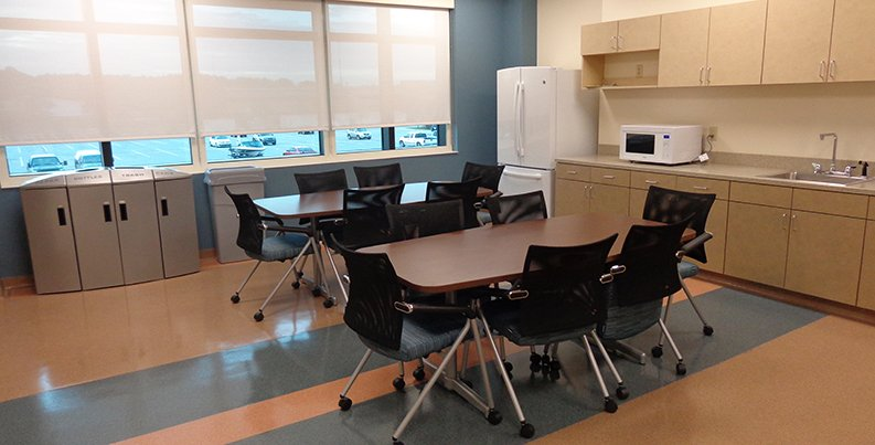 Break room in Combat Services Support Facility